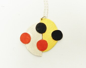 Minimalist, Geometric, Contemporary, Red, Gold, Black, Sterling Silver Modern Pendant Necklace