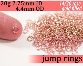 20g 2.75mm ID 4.4mm OD rose gold filled jump rings -- 20g2.75 pink goldfill jumprings 14k goldfilled