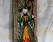 """HOLD for Maggie, Raven's Broom 3, authentic barn wood, hand painted, 5 1/2""""x 15"""""""