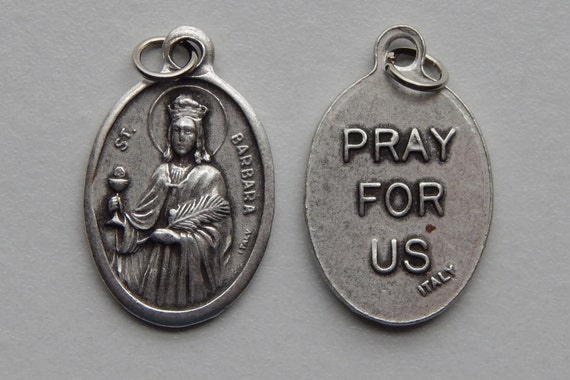 5 Patron Saint Medal Findings - St. Barbara, Die Cast Silverplate, Silver Color, Oxidized Metal, Made in Italy, Charm, Drop, RM208