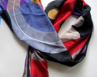 Abstract Vera Silk Scarf long bright red purple black