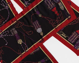 Long Silk Talbots Scarf burgundy black