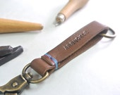 Personalized Leather Keychain Keyclip Fob Hand-stitched Hand stamped Thick leather