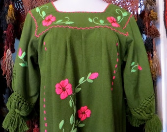 Fab Fringed Yarn Pom Pom Trimmed Mexican Embroidered Dress