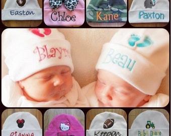 Personalized Baby Hat Monogram Baby Hat Custom Baby Hat Baby Beanie Baby Girl Gift Baby Boy Gift Hospital Hat Hospital Beanie Baby Keepsake