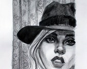 Suicide Blonde in a Vintage Hat, crayon and watercolor on paper 11 x 14 (image is 8 x 10 inches) by Kenney Mencher