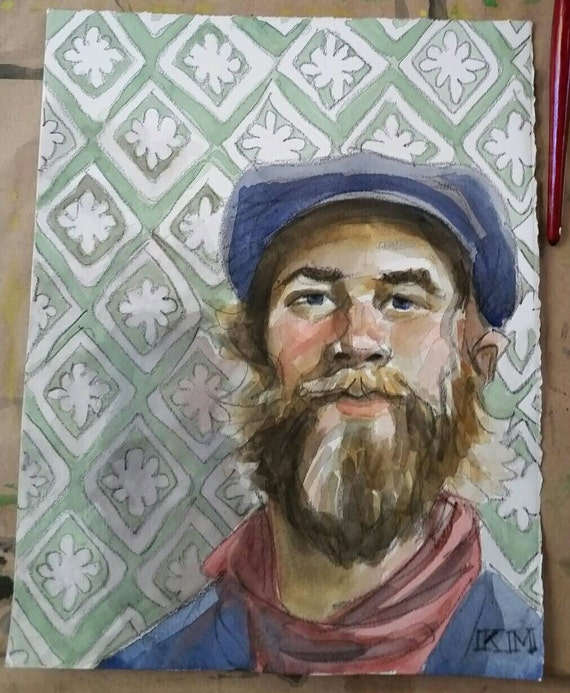 Old School Handsome Bearded Guy with a Pleasant Expression, watercolor and crayon on 11x14 inch cotton paper by Kenney Mencher