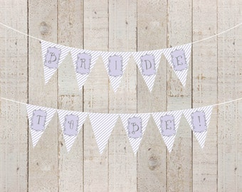 Purple Stripes Bridal Shower Banner Welcome Baby Lavender Baby Girl Bride to Be Baby Shower Banner Purple Happy Birthday - INSTANT DOWNLOAD
