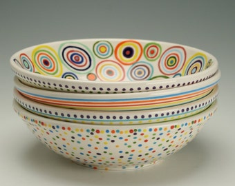 Colorful Bowl in Circles Design Hand Painted Personal or Small Serving Bowl