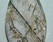 Black Tourmaline Crystals in Clear Crystal Designer Cabochon (E-013)