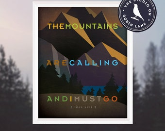 """John Muir – The Mountains are Calling [No.5] 11""""w X14""""h Hiking, Typographic, Outdoor, Decor & Housewares Wall Decor"""