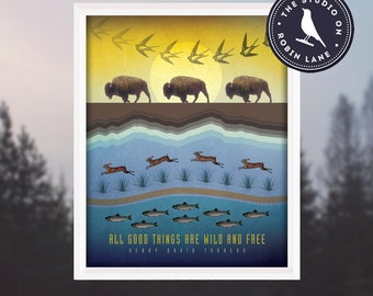 """Henry David Thoreau–All good things are wild and free [No.3] Nature 11""""wX14""""h Print, Decor & Housewares Wall decor"""