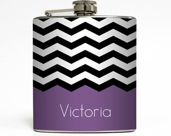 Chevron Personalized Flask with Your Name Black White Zig Zag Stripe Pattern 21st Birthday - Stainless Steel 6 oz Liquor Hip Flask LC-1018