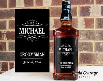 Custom Jack Daniels 750 mL Bottle Labels Groomsmen Groomsman Best Man Gifts Bridal Party Favors Bachelor Party Guys Whiskey Gifts LB-1003