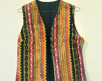 20% OFF — Vintage 1970's Long Upholstery Vest - Great Condition - Size Small/Medium