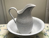 RESERVED4U, KATHLEEN:  Graniteware Enamelware Chickenwire Pitcher and Bowl