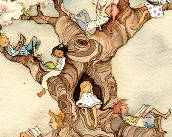 The Reading Tree - signed Art Print