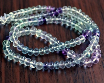 Fluorite Rondelles, Mint Green and Purple Gemstone Beads, Shaded, Real Semiprecious Stone, AAA Roundel, 4mm - 4.5mm - 7 inch strand