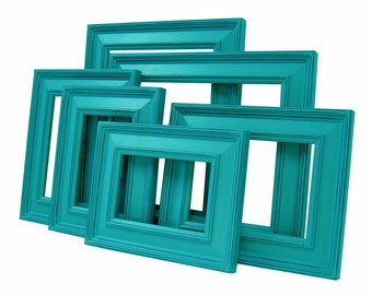 Picture Frames Picture Frame Set Shabby Chic Picture Frames Teal Blue Home Decor Wall Decor Nursery Wedding Frames Rustic Picture Frames