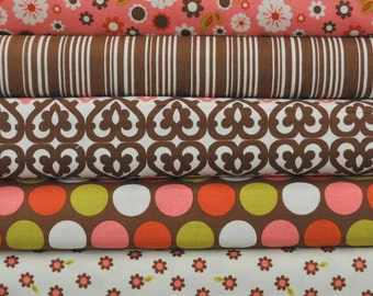 Indian Summer Pink 5 Fat Quarters Bundle by Zoe Pearn for Riley Blake, 1 1/4 yards total