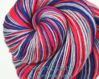 "DYED to ORDER: ""PATRIOTS"" - Self-striping Sock Yarn"