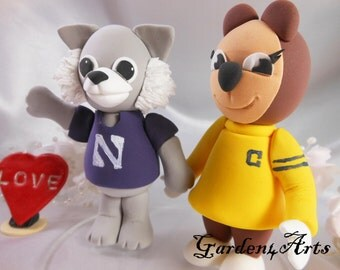 NEW--Wedding Cake Topper-Custom Mascot Love Couple with circle clear base
