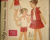 SALE 1950s Girls Sailor Collar Jacket Shorts Skirt Blouse Girls Summer Wardrobe Simplicity 2986 Girls Size 6 Breast 24 Vintage Sewing Patter