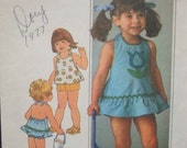SALE 1970s Toddler Girl Halter Dress Top Shorts Bloomers with Applique Rick Rack Trim Simplicity 7553 Size 3 Girl's Vintage Sewing Pattern