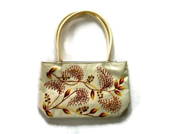 Vintage Beige Silk Satin Purse- Beaded  and Hand Embroidered