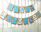 HAPPY HANUKKAH Holiday Banner, Rustic Kraft Vintage Inspired Garland in White, Blues and Silver