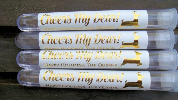 Personalized Favors, Christmas, Party, New Years- Set of 10 Tubes, Gold Foil