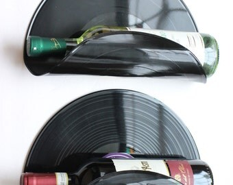 Vinyl Record Wine Rack Wall Organizer - Set of 2