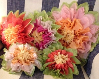 5 Tissue paper pom flowers. Wedding decorations, Baby, Bridal shower, Rehearsal, Party decorations. Hanging pom poms. Hanging flower ball