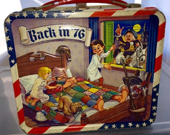 1970's American 4th of july Back in 76 Aladdin metal lunch box lunchbox