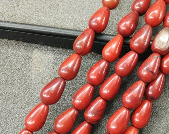 Red Stone Teardrop beads 8x12mm- Central Drilled- 33pcs/strand