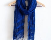ON SALE Dark Indigo - Handwoven Windowpane Fair Trade Silk Scarf