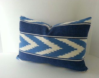 ON SALE - 12x18 Indoor - Outdoor Blue and White Ikat Stripe Pillow Cover - Both Sides