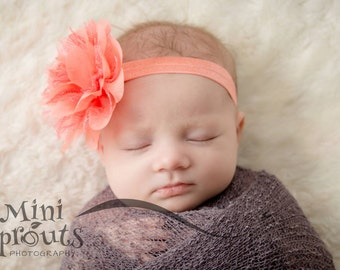 Coral baby headband,  infant headband, newborn headband, coral chiffon flower headband, photo prop, coral flower, coral headband