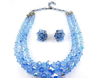 1960's Light Blue AB Swarovski Crytstal Beads 3-Row Necklace and Clip Earrings