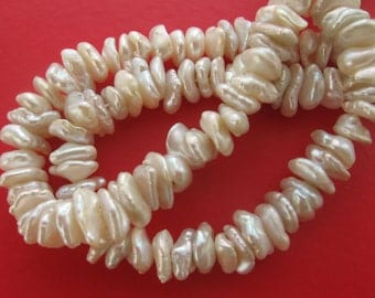 Center Drilled White Keishi Freshwater Pearls - 15 Inch Strand