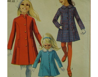1960s Nehru Style Girls Coat Pattern, Princess Seams, Welt Pockets, Semi-Fitted, Mandarin/Round Collar, Simplicity No. 7887 UNCUT Size 4