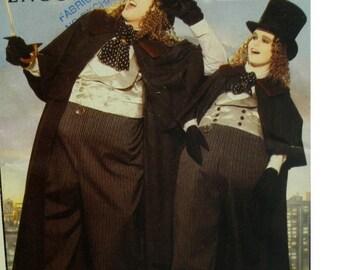 The Penguin Costume Pattern, Batman Returns, Oversized Pants, Vest, Cloak, Ascot, Gloves, Butterick No. 6384 UNCUT Size Adult XS S M L