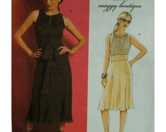 Suzy Chin Flared Dress Pattern, Gathered Neck, Binding, Front Slit, Sleeveless, Midriff Insert, Butterick No. 4978 UNCUT Size 8 10 12 14