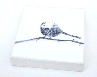 Long-tailed tit: woodblock made from a collagraph print by Sally Fisher