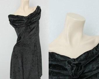 """40% OFF 1990's Velvet Grunge Party Dress Off the Shoulder Rose Vintage Dress Sz M/L 30"""" Waist"""