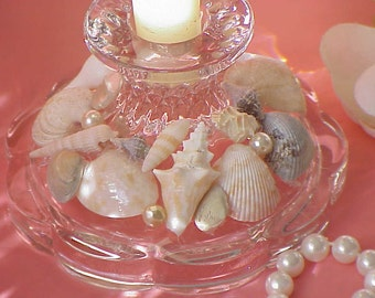 Beach Cottage Decor Glass Candle Holder Decorated with Sea Shells and Pearls