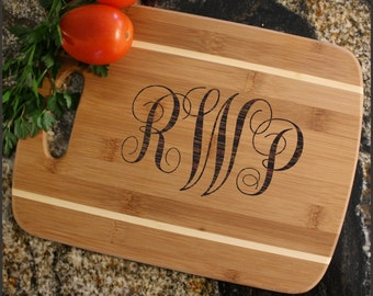 Personalized Cutting Board, Monogram, Personalized Cheese Board, Engraved Bamboo Cutting Board, Wedding Gift, Housewarming-Thin, Stripe D1