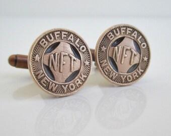 BUFFALO, NY Token Cuff Links - Vintage Repurposed Bronze Coins