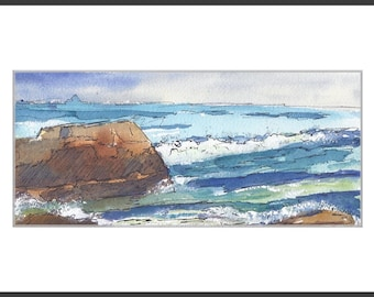 Original Watercolor Painting Watercolor and Ink Ocean Painting Dana Point Seascape  SFA