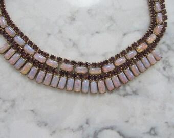 VINTAGE Rhinestones and Faux Opals Demi Parure Set -Necklace- Bracelet-Screw On Earrings-0000-12